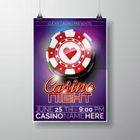 Vector Party Flyer design på ett kasinotema med chips och typografi-text