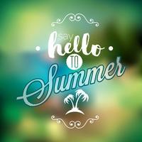 Hej sommar, jag har väntat på dig inspirations citat på oskärpa bakgrund.