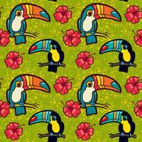 Toucan och Hibiscus. Tropiskt grönt sömlöst mönster. vektor