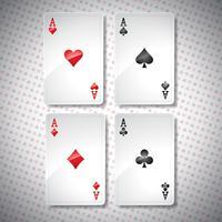 Vektor illustration på ett kasinotema med att spela poker kort. Poker ess set mall