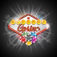 Vektor illustration på ett kasinotema med färgspel chips