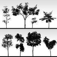 Små träd silhuett landskap.