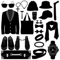Herrenbekleidung Accessoires Design. vektor