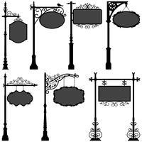 Signage Sign Pole Frame Street. vektor