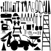 Bau-Werkzeug-Schattenbild-Vektor. vektor