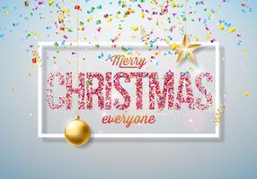 Vektor-frohe Weihnacht-Illustration auf glänzendem hellem Hintergrund