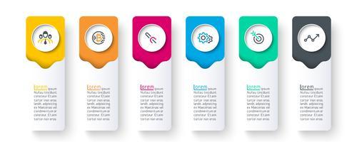 Geschäftsinfografik mit 6 Schritten.