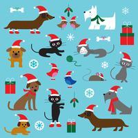 Weihnachtskatzen, Hunde und Vögel