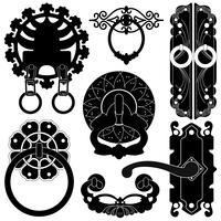 En uppsättning silhuett som visar dörrhandtag design.