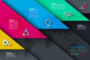 Fünf Etiketten mit Geschäftsikoneninfografiken.