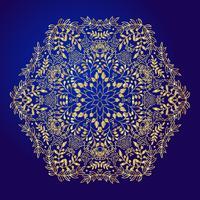 Mandala, Amulett. Esoterisches Goldsymbol auf einem blauen Hintergrund. vektor