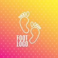 Symbol för mänsklig fotavtrycksskylt. Barefoot symbol. Fot silhuett.