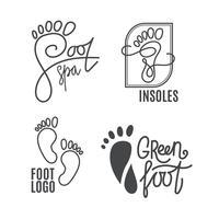 Fuß-Silhouette Gesundheitszentrum, orthopädischer Salon. Nackter Fuß unterschreiben.