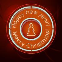 Retro neonskylt Gott nytt år och god julbokstäver 1950-talet vektor