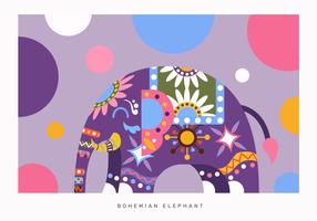 Böhmischer Farbzusammenfassungs-Elefant-Vektor flach