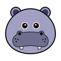 Söt Hippo Face. vektor