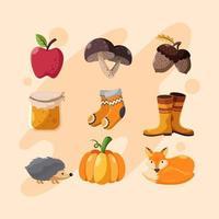 Herbstsaison Icons Set vektor