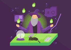 Zauberer, der magische Ritual-Vektor-Charakter-Illustration tut