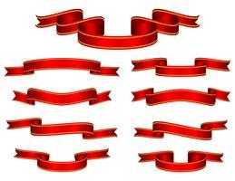 Red Ribbon Set Vector.