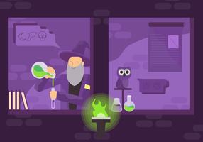 Gamla Man Experiment Magi i Trollkarlen Vektor illustration