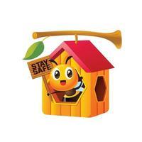 Cartoon süße Biene mit Holzschild und Aufenthalt im Wabenhaus vektor