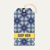 Tagg med portugisiska blå prydnad azulejos. vektor