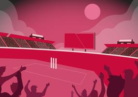 Kricket-Stadion-Hintergrund-Vektor-flache Illustration