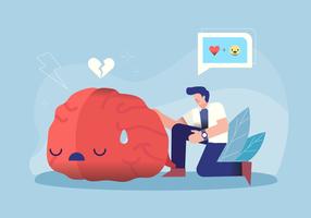 Doktor Caring Brain Character für psychische Gesundheit Vector Illustration