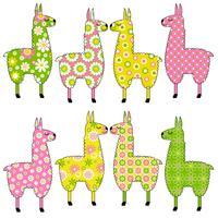 süße Lamas mit floralen Mustern vektor