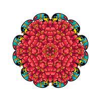 Runda prydnadsstil psychedelic 60s av tropisk växt och element