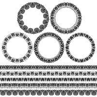 Grekiska Ornamental Circle Ramar och gränsmönster