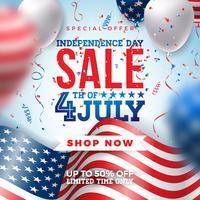 Fjärde juli Independence Day Sale Banner Design vektor