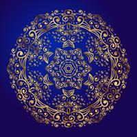 Mandala, amulett. Esoterisk guld symbol på en blå bakgrund.