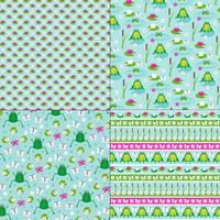 groda och lilja vadderar mönster vektor
