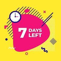 Verkauf Countdown flüssige abstrakte Elemente sieben Tage. vektor