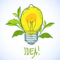 Lampe in Form von Zitrone. Idee.