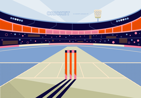 Cricket Stadium Bakgrund Vector Illustration