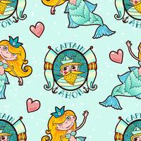Sjöjungfru och sjömän sömlösa mönster. Kawaii Maritime Princess. vektor
