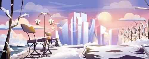 Winter-Stadtpark-Landing-Page-Web-Banner-Hintergrund vektor