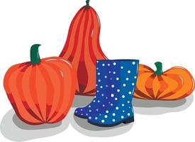 Herbststillleben mit Kürbissen und Gummistiefeln. vektor