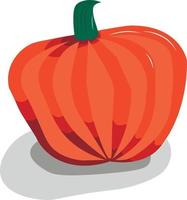 runder, leicht abgeflachter Kürbis. orange-rote Nuancen. vektor
