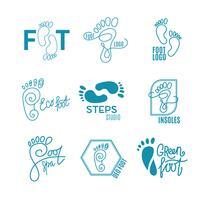 Logo av mitten av friska fötter.