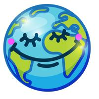 Leende jordklot (Earth) i tecknad doodle