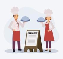 Koch stehen in der Nähe von Spezialmenü-Holzschild. vektor
