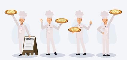 Satz eines Mannes in Kochuniform, der Pizza in der Nähe des Willkommens-Holzschildes hält. vektor