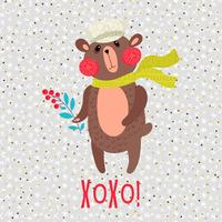 Weihnachts-Teddybär-Grußkarte vektor