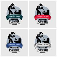 Klempner-Logo-Design. vektor