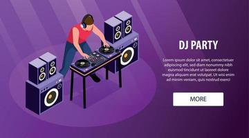 Party DJ horizontales Banner vektor