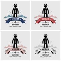 Kapten eller seglare logotyp design. vektor