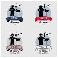 Voiceover och röstinspelning rumstudio logotyp design.
